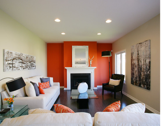 If you like it you have permission to keep it - Burnt orange feature wall living room ...