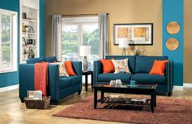 high-contrast blue and orange sofa