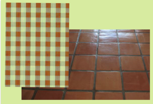 terra cotta tile with fabric